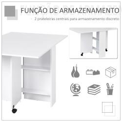 Mesa Dobrável de Madeira com Rodinhas Secretária Prateleira Estante Branca Cozinha