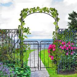Outsunny Arco de jardim com porta dupla treliça metálica com fechadura para plantas trepadeiras Pátio 108x45x215 cm cor preto fosco