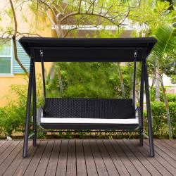 Outsunny Balanço de jardim tipo cadeira de balanço de rattan com 3 assentos para jardim e terraço com toldo ajustável e almofada - 198x124x179cm