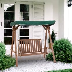 Outsunny Balanço de Madeira com toldo Verde 160x120x165 cm Carga 227 kg para Pátio Jardim Exterior Proteção Solar marrom