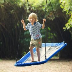 Outsunny Balanço para crianças acima de 3 anos de jardim ninho retangular até 150 kg com cordas ajustáveis Tecido Oxford 900D e metal 150x80x180 cm azul