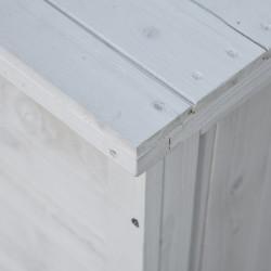 Outsunny Baú de madeira ao ar livre Caixa de armazenamento de jardim com tampa que pode ser aberta 127x56x60 cm Branco