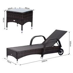 Outsunny conjunto de 2 Espreguiçadeira Espreguiçadeira + 1 Mesa Ratan para Jardim ou Terraço Cadeiras com Almofada e Encosto Ajustável a 5 Níveis - Castanho