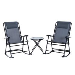 Outsunny Conjunto de móveis de jardim, mesa redonda Ø46x49 cm e 2 cadeiras 68x90x106 cm dobráveis para varanda cinza