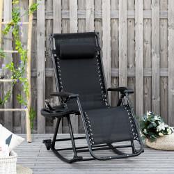 Outsunny Espreguiçadeira de balanço de jardim dobrável reclinável com toldo de proteção solar Estrutura de aço 120x67x102 cm Preto