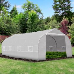 Outsunny Estufa de jardim tipo túnel com 8 janelas respiráveis e porta de enrolar com zíper de aço 600x300x200 cm Branco