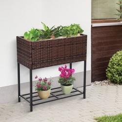 Outsunny Floreira ao ar livre para jardim urbano Varanda alta com floreira retangular com prateleira 70x30x72 cm