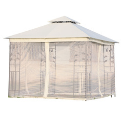 Outsunny Grandes tendas ao ar livre com rede mosquiteira Gazebo elegante para jardim 3x3m