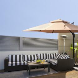 Outsunny Guarda-sol de jardim quadrado de 300x300 cm com manivela Poste giratório de 360 ° Telhado duplo inclinável em 6 posições Base cruzada incluída cáqui