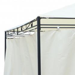 Outsunny Pavilhão Exterior 4x3x2.55m com Tecido Poliéster Resistente aos Raios UV Marco de Ferro com Parede Lateral Cor Creme