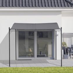 Outsunny Pergula de jardim 3x3m Gazebo com Toldo e 4 Furos de Drenagem Metal e Poliester 180 g / m² Resistente Cinza