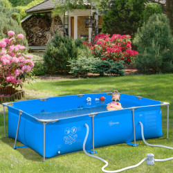 Outsunny Piscina Desmontável Tubular 252x152x65cm com Depuradora de Cartucho Piscina Retangular de Exterior para Adultos e Crianças 3600L Azul