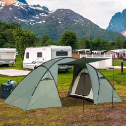 Outsunny Tenda de acampamento para 4 pessoas à prova d'água 2000mm portátil Igloo com 2 portas para acampamento 480x220x190 cm verde