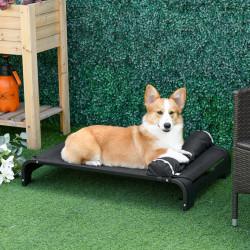 PawHut Cama Elevada para Animais de estimação Cães Gatos Tela Transpirável com Almofada Removível Exterior Interior Jardim Terraço 91x60x23cm Preto