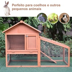 PawHut Casa para coelhos de madeira Casa Exterior para Coelhos Teto de pano de asfalto 144x64.5x100 cm Estrutura grande