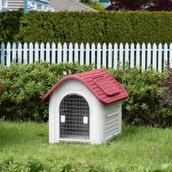 PawHut Casota para Cães com Porta Removível Base Elevada 3 Respiradouros e Janela para Interior e Exterior 72x87x75cm Cinza e Vermelho