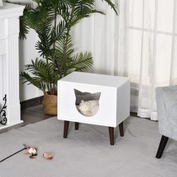PawHut Caverna para gatos levantada semi-aberta com almofada acolchoada de pelúcia 49x34x49 cm Branco