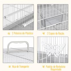 PawHut Gaiola Pássaros 60 x 41 x 41 cm Branco Ferro e PP