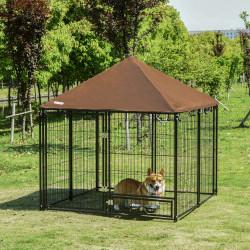 PawHut Parque para Cães com Toldo Suporte Giratório 2 Tigelas Incluídas para jardim 141x141x121cm Preto Marrom