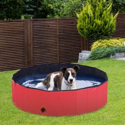 PawHut Piscina Dobrável Portátil para Animais de Estimação Cães Gatos PVC Antideslizante Múltiplo Uso r Ø120x30 cm Vermelho