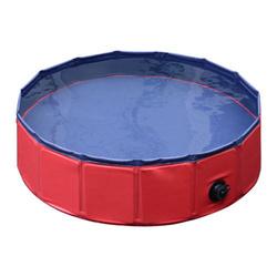 PawHut Piscina para cães dobrável vermelho e azul escuro PVC PET pranchas Φ160x 30 cm