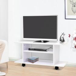 Secretária armário Móvel de TV Televisão Madeira com Rodinhas Cor Branco 80x40x40 cm