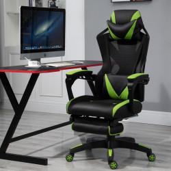 Vinsetto Cadeira de escritorio gaming ergonômica Altura ajustável Encosto ajustável Verde