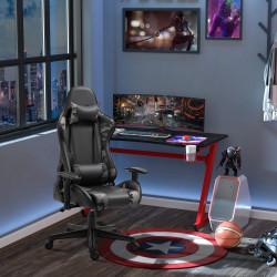 Vinsetto Cadeira de Gaming Ergonômica Reclinável e Basculante com Altura Ajustável Apoio para o Braço Regulável Almofada Couro Sintético 72x77x12-136cm Preto