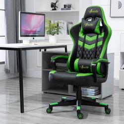 Vinsetto Cadeira ergonômica gaming de escritório Altura ajustável Reclinável giratório verde