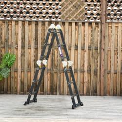 DURHAND HOMCOM Escada multiuso dobrável 5 em 1 com 2 placas de alumínio 70x61x11 cm Preto