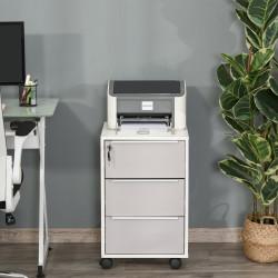 HOMCOM Armário de arquivo móvel para escritório com 3 gavetas Rodas de trava 40x40x63,5 cm Branco e cinza