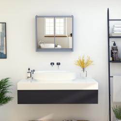 HOMCOM Armário de banheiro com espelho de parede com prateleira ajustável 3 níveis 2 portas 48x14,5x45 cm Cinza