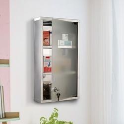 HomCom Armario de Medicamentos Farmácia Armário de Primeiros Socorros Aço Inox 3 Estantes Caixa Suspensa de Parede com Fechadura 25x12x48cm