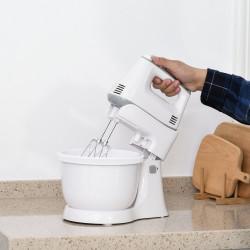 HOMCOM Batedeira de Pastelaria Profissional Multifuncional Robô de Cozinha 3.4 litros com 6 velocidades Inclui 3 cabeças 300 W de aço inoxidável branco