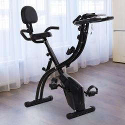 HOMCOM Bicicleta ergométrica dobrável ajustável em altura e resistência com tela LCD e assento com encosto 51x97x115 cm Preto