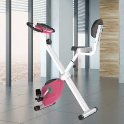 HOMCOM Bicicleta ergométrica profissional dobrável com 8 níveis de resistência magnética Assento com Altura Ajustável Aço 43x97x109 cm Rosa