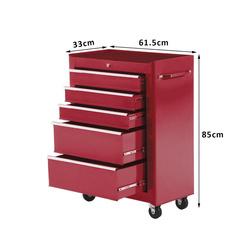 HOMCOM Carrinho de ferramentas em aço vermelho 61.5x33x85cm