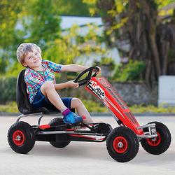 HOMCOM Carro de pedais com embreagem e freio ajustáveis para crianças acima de 3 anos carga 50 kg 121x65x76cm
