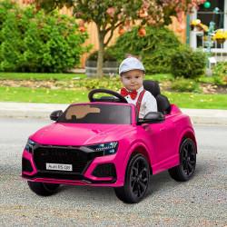 HOMCOM Carro Elétrico Infantil acima de 3 anos Licença Audi RS Q8 com Bateria 6V Controle a Distância Música MP3 Buzina e Luzes Velocidade Máx. 3km/h 101x62x51cm Rosa