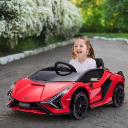 HOMCOM Carro Elétrico Lamborghini SIAN 12V para Crianças acima de 3 Anos com Controle Remoto Abertura da Porta Música MP3 USB e Faróis 108x62x40cm Vermelho