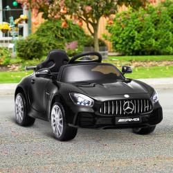 HOMCOM Carro elétrico para crianças acima de 3 anos Mercedes GTR licenciado Bateria 12V com controle remoto Música Faróis Porta dupla de abertura Carga 25kg 105x58x45 cm Preto