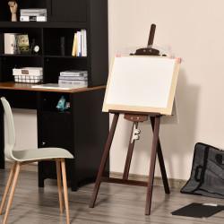 HOMCOM Cavalete para Pintura de Madeira Inclinável 90° com Suporte Tripé e Pincel 51,5x71,5x134,5cm Marrom