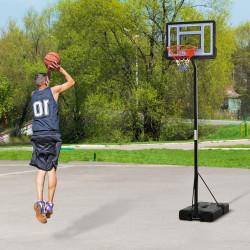 HOMCOM Cesta de basquete com suporte portátil Aro de cesta ajustável em altura com base recarregável para crianças e adultos 86x153x250-350 cm Preto