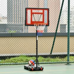 HOMCOM Cesta de Basquetebol Ajustável de 160-210cm Aro de Basquetebol com Suporte de Aço Base Recarregável 2 Rodas para Crianças e Adultos 75x83x261cm Vermelho e Preto