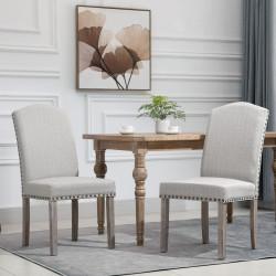 HOMCOM Conjunto de 2 cadeiras de jantar Com encosto de rebite alto e pernas de madeira 51x64x99,5 cm cinza