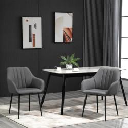 HOMCOM Conjunto de 2 cadeiras de jantar decorativas estofadas em linho com encosto ergonômico, braços e pernas de metal 59,5x56,5x81 cm cinza