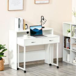 HOMCOM Conjunto de 2 mesas secretária para escritório com rodas 2 gavetas 100x36x88 cm Branco