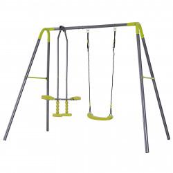 HOMCOM conjunto de baloiço infantil acima de 3 anos ao ar livre com balanço e planador