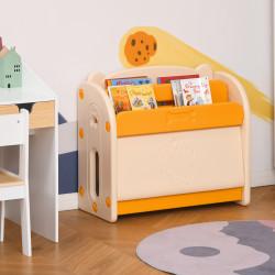 HOMCOM Estante Infantil de Brinquedos e Livros para Crianças com 2 Prateleiras e Caixa de Armazenamento com Tampa Dobrável para Habitação Infantil 70x33x62,5cm Amarelo