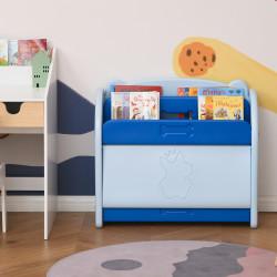 HOMCOM Estante Infantil de Brinquedos e Livros para Crianças com 2 Prateleiras e Caixa de Armazenamento com Tampa Dobrável para Habitação Infantil 70x33x62,5cm Azul